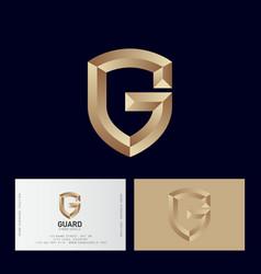 gold letter g like a shield monogram vector image