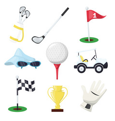 golf sport equipment club stick ball and hole on vector image