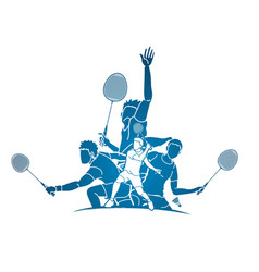 Group badminton player action cartoon graphic vector