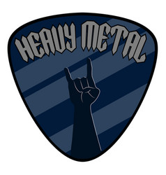 Guitar pick with text and hand symbol heavy metal vector