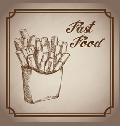 hand drawn french fries fast food products vector image