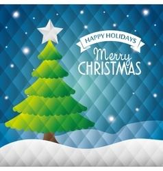 Happy holidays merry christmas tree star snow vector