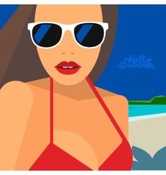 Hello Summer beautiful woman in bikini and vector image