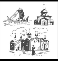 historical scenes of ancient russia vector image