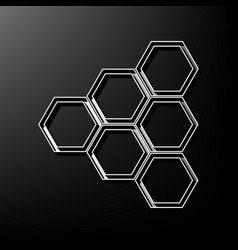 honeycomb sign gray 3d printed icon on vector image