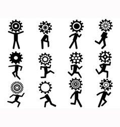 human with gear head icons vector image