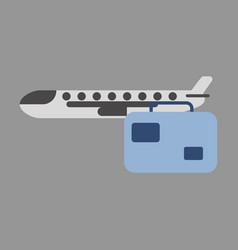 Icon in flat design airplane suitcase vector