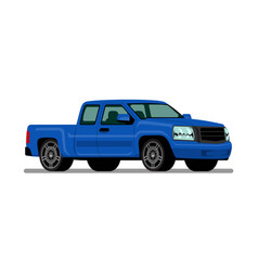 Isolated blue pickup truck diesel engine vehicle vector