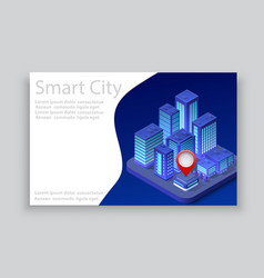 isometric city business card vector image