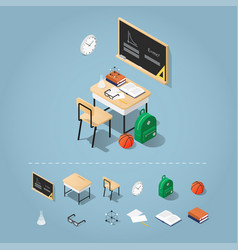 isometric school desk vector image