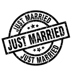 Just married round grunge black stamp vector