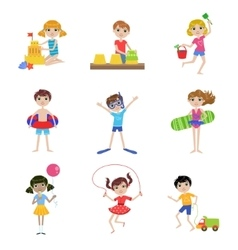 Kids On Summer Vacation Set vector