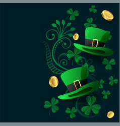 lovely st patricks background with hat coin and vector image