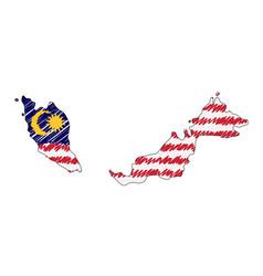 Malaysia map hand drawn sketch concept vector