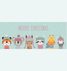 Merry christmas card with cute animals hand drawn vector