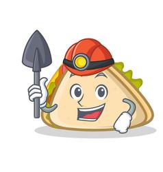 Miner sandwich character cartoon style vector