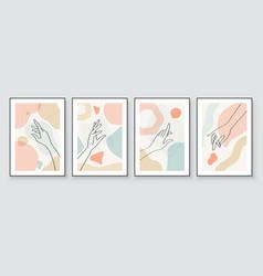 Modern abstract art botanical wall art boho vector