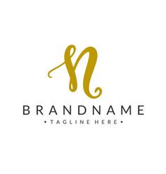 monogram letter n branding logo vector image
