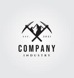 Mountain pickaxe vintage logo symbol design vector