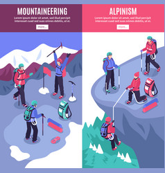 Mountain tourism vertical banners vector