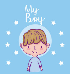 my cute boy cartoon vector image