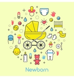 newborn baline art thin icons set vector image