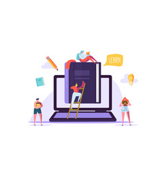 online education concept e-learning with people vector image