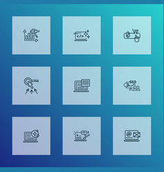optimization icons line style set with fresh vector image