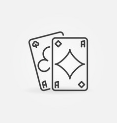 Pair aces simple icon in outline style vector