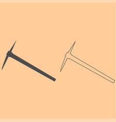 pickaxe dark grey set icon vector image