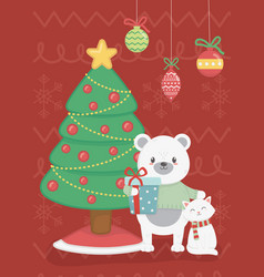 polar bear and cat with tree gift celebration vector image