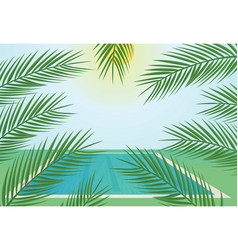 pool and tropic leafs vector image
