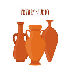 Pottery studio label logo with vases amphoras vector