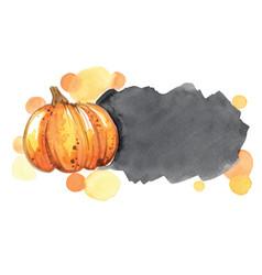 pumpkin with black brush stroke copy space icon vector image