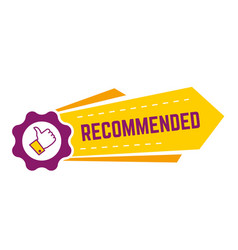 recommended banner with thumb up and gear icon vector image