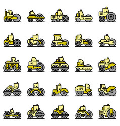 road roller icons set flat vector image