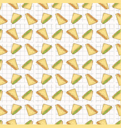sandwiches triangles seamless pattern hand vector image