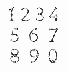 Set of numbers for robot font vector