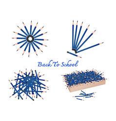 set of sharpened pencils on white background vector image