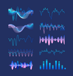 Set of various colorful sound music waves audio vector