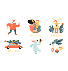 set stickers for christmas and new year vector image