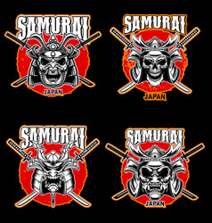 set vintage monochrome samurai helmets and vector image