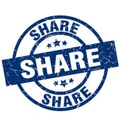 share blue round grunge stamp vector image