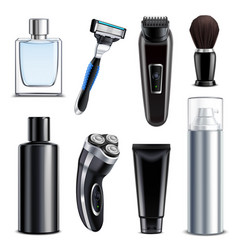Shaving equipment realistic set vector