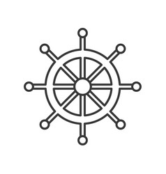 ship helm outline icon on white background vector image