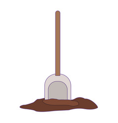 shovel on land with purple contour vector image