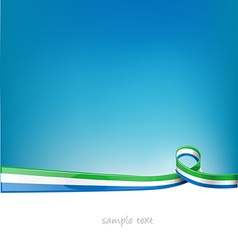 sierra leone ribbon flag on blue sky background vector image