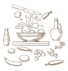 Sketch of cooking salad process vector
