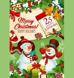 snowman with gift bag christmas greeting card vector image