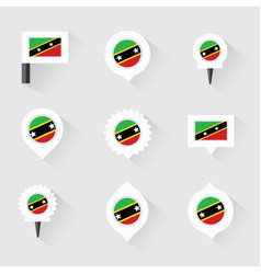 st kitts amp nevis flag and pins for vector image